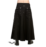 Black Skirt with Rivets and D-Rings