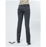 Grey striped trousers with zippers