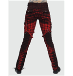 Red Plaid Trousers with Bondage