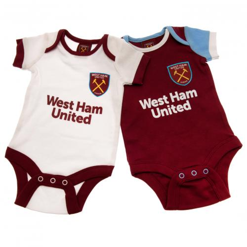 West Ham United F.C. 2 Pack Bodysuit 3/6 mths