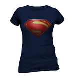 Superman - Textured Logo - Women Fitted T-shirt Blue