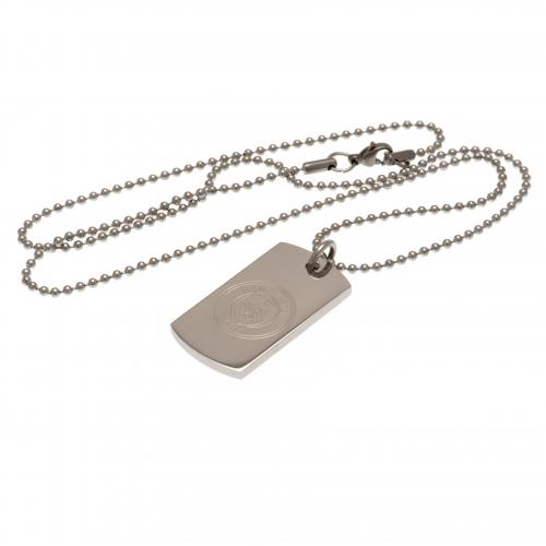 Manchester City F.C. Engraved Crest Dog Tag & Chain