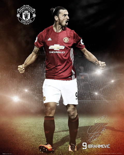 MANCHESTER UNITED Ibrahimovic 16/17 Mini Poster