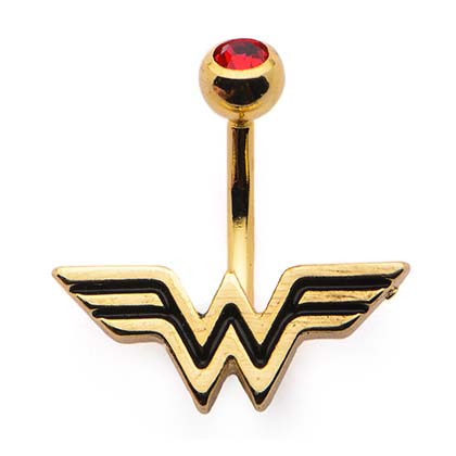WONDER WOMAN Gold Plated Red CZ Navel Belly Button Ring PLACEHOLDER