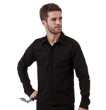 Black Button-Down Shirt with diagonal Fr