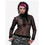 Net shirt with asymmetrical satin collar
