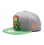 CAPCOM StreetFighter Pixelated Retro Blanka Character Snapback Baseball Cap, One Size, Grey/Green