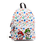 NINTENDO Super Mario Bros. Mario and Luigi with All-over Icons Pattern Print Backpack, White