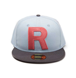 POKEMON Team Rocket Big 'R' Logo Snapback Baseball Cap, One Size, Light Blue/Dark Grey