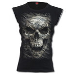 CAMO-SKULL - Zip Side Ribbed Gothic Ladies Top