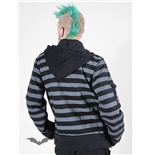 Hooded jacket with striped sleeves