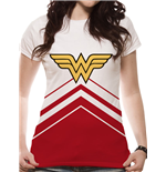 Wonder Woman - Cheer Leader Logo - Women Fitted T-shirt White