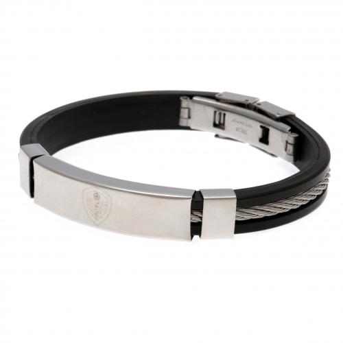 Leeds United F.C. Silver Inlay Silicone Bracelet