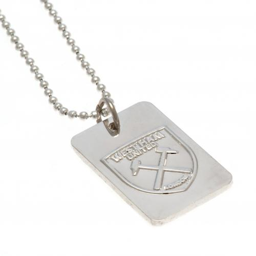 West Ham United F.C. Silver Plated Dog Tag & Chain