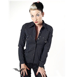 Pinstripe shirt with D-rings & studs