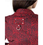 Red leopard button-down shirt