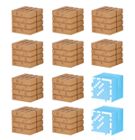 Minecraft Mine-Keshi Figures 2- 4 cm Block Set Wood Planks & Glass