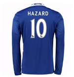 2016-17 Chelsea Home Long Sleeve Shirt (Hazard 10)