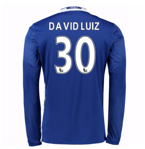 2016-17 Chelsea Home Long Sleeve Shirt (David Luiz 30) - Kids