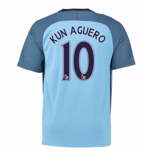 2016-17 Man City Home Shirt (Kun Aguero 10) - Kids