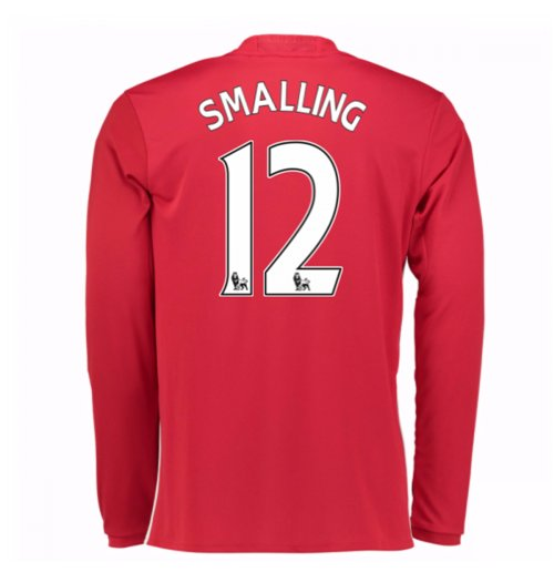 2016-17 Man United Home Long Sleeve Shirt (Smalling 12) - Kids