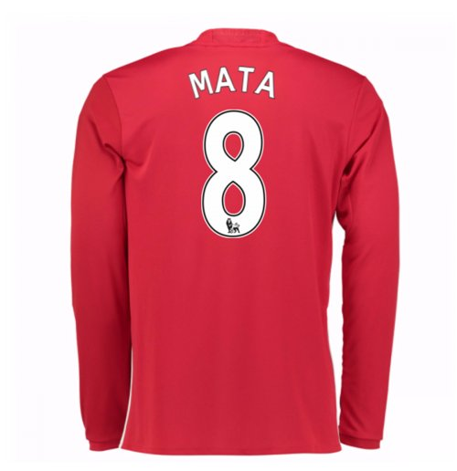2016-17 Man United Home Long Sleeve Shirt (Mata 8) - Kids
