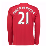 2016-17 Man United Home Long Sleeve Shirt (Ander Herrera 21)
