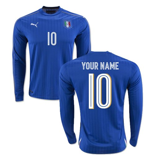 2016-2017 Italy Long Sleeve Home Shirt (Your Name)
