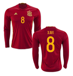 2016-2017 Spain Long Sleeve Home Shirt (Xavi 8)