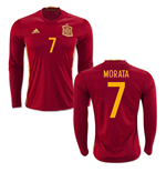 2016-2017 Spain Long Sleeve Home Shirt (Morata 7)