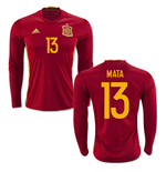 2016-2017 Spain Long Sleeve Home Shirt (Mata 13)