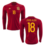2016-2017 Spain Long Sleeve Home Shirt (Jordi Alba 18)