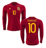 2016-2017 Spain Long Sleeve Home Shirt (Fabregas 10)