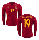 2016-2017 Spain Long Sleeve Home Shirt (Diego Costa 19)