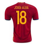 2016-2017 Spain Home Shirt (Jordi Alba 18) - Kids