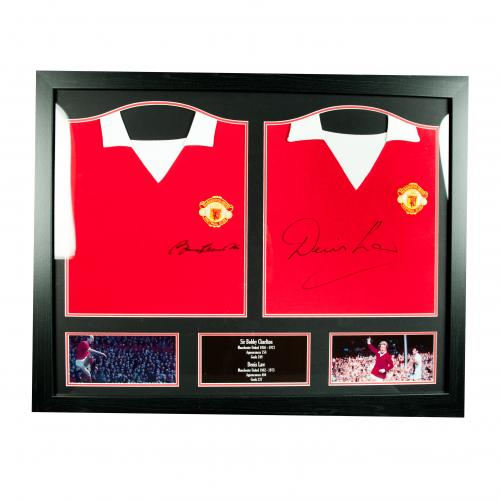 Manchester United F.C. Charlton & Law Signed Shirts (Dual Framed)