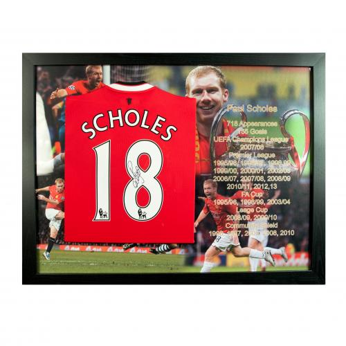 Manchester United F.C. Scholes Signed Shirt (Framed)
