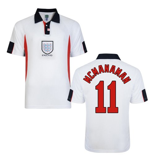 Score Draw England World Cup 1998 Home Shirt (McManaman 11)