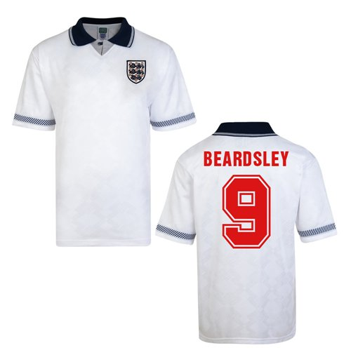 Score Draw England World Cup 1990 Home Shirt (Beardsley 9)