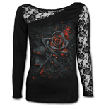 Burnt Rose - Lace One Shoulder Top Black