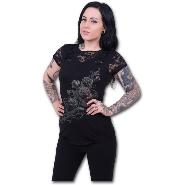 Fatal Attraction - 2in1 Ripped Black Lace Top