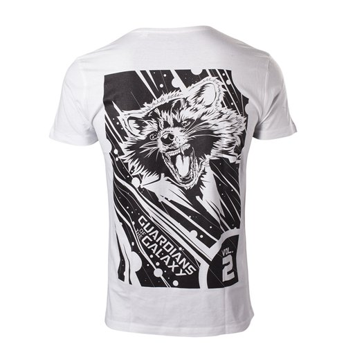 MARVEL COMICS Guardians of the Galaxy Vol. 2 Men's Rocket T-Shirt, Large, White