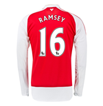 2015-16 Arsenal Home Long Sleeve Shirt (Ramsey 16) - Kids