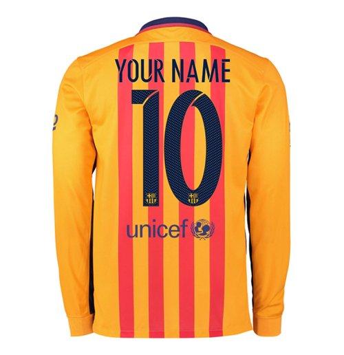 promo code c548d 73de7 2015-2016 Barcelona Long Sleeve Away Shirt (Your Name)