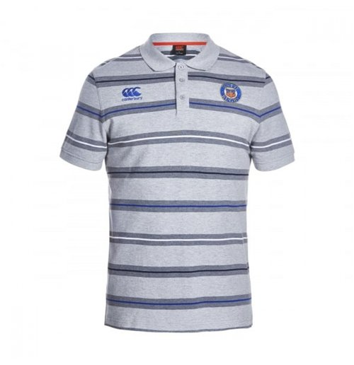 2016-2017 Bath Rugby Stripe Polo Shirt (Grey Marl)