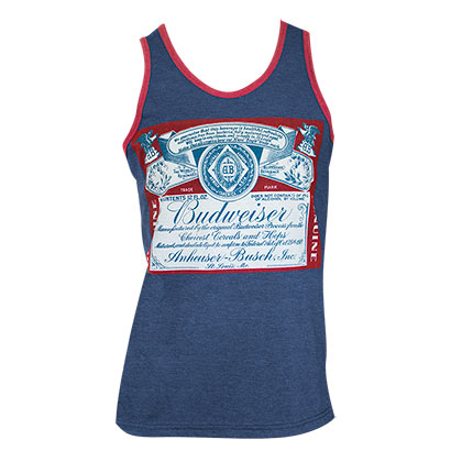 BUDWEISER Bottle Logo Navy Blue Tank Top