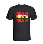Andres Iniesta Spain Player Flag T-shirt (black)