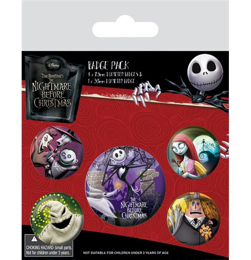 Nightmare Before Christmas Pin Badges 5-Pack Characters for only ...