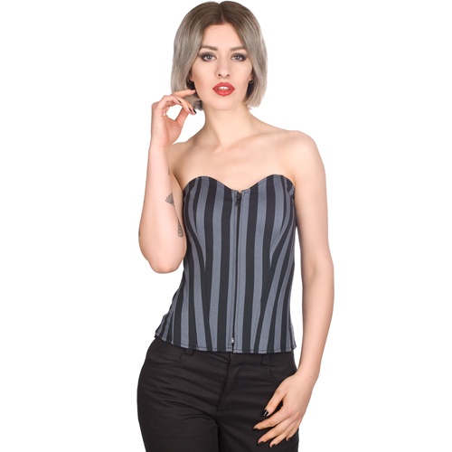 Black Pistol Wrincle Corsage Stripe Denim