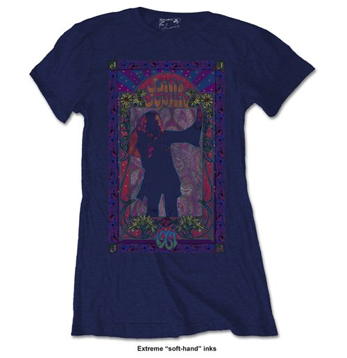 Janis Joplin Ladies Fashion Tee: Paisley & Flowers Frame